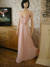 8 TALL ASOS NUDE CHIFFON MAXI EYELASH LACE INSERT DRESS 20'S 30'S VINTAGE GATSBY