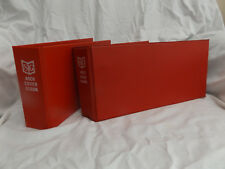 PAIR OF USED RED STANLEY GIBBONS 2 RING ARCH COVER STAMP ALBUM WITH 16 PAGES