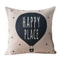 Nordic Deer Animal Quote Balloon Linen Pillow Case Decorative Cushion Cover P5M4