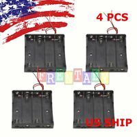 """4 x 18650 Battery Holder Storage Case Plastic Box 7"""" Wire Leads With 4 Slots 15V"""