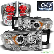 For 2002-2005 Dodge Ram Twin Halo LED Pro Headlights+Tail Lamp Head Lights
