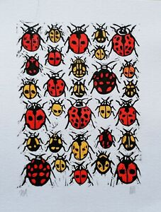 Ladybirds Linoprint