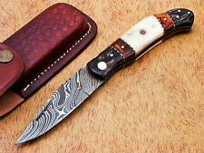 AWESOME HAND FORGED DAMASCUS STEEL POCKET FOLDING KNIFE-BACK LOCK- MP-3819
