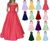 Sexy Boat Neck Satin Prom Dress Formal Evening Party Bridesmaid Gown Dress 6-20
