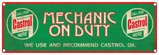 CASTROL OIL Mechanic On Duty Vintage Tin Sign 60 x 20 cm CASTROL Rustic Tin Sign