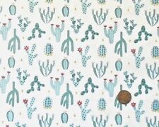 DESERT CACTUS BLUE ON WHITE BY LEWIS & IRENE - COTTON FABRIC FQ'S