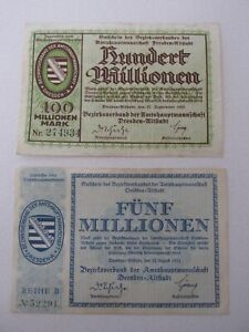 1923 Dresden Hyper-Inflationary Notes Lot of 2