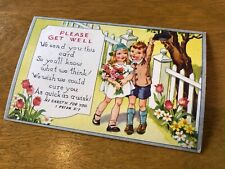 Antique vintage Postcard Get Well floral religious Christian greeting card rose