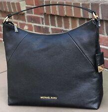 Michael Kors Karson Top Zip Pebbled Black Leather Large Shoulder Hobo Bag