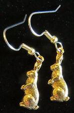 Rabbit Earrings 24 Karat Gold Plate Bunny Standing Hare Spring Easter Garden