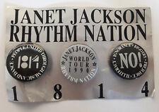 3 badges officiels Janet Jackson 1814 World tour 1990