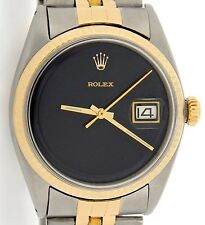 Mens Rolex 2Tone 14K Gold/Stainless Steel Datejust w/Jubilee Band & Black Dial