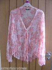 M & S Per Una Peach Pattern Crinkle Ladies Blouse Shirt Size 12 Large (Ref Z)