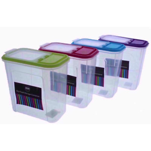 4x Dry Food Storage Container set bin  2L for Cereal and other dry food