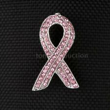 New Silver Metal & Pink Rhinestone Brooch Pin BREAST CANCER AWARENESS RIBBON