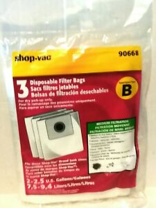 Shop-Vac Disposable Filter Bags Type B 3 Pack NWOT New Medium Filtration 90668