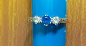Used Ladies N Size 9ct Gold Diamond and Sapphire Type Stone