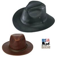 Leather SAFARI HAT ~ Cowboy Western Bush Style in BROWN & BLACK Handmade in USA