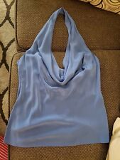 BCBG MaxAzria Backless Halter Ruffle Blouse/Top in Larkspur Blue Size S