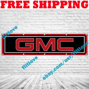 GMC Motors Logo 2x8 ft Banner Car Trucks Show Garage Wall Decor Sign Gift 2019