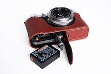 Genuine Real Leather Half Camera Case Bag Cover for FUJIFILM X100F Bottom Open