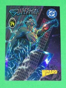 WIZARD MAGAZINE SERIES 4 CHROME REFRACTOR CHROMIUM PROMO CARD #14 SUPERMAN DC!