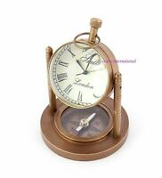 Brass Copper Antique Desktop Clock with Compass Nautical Home Office Decor Desk