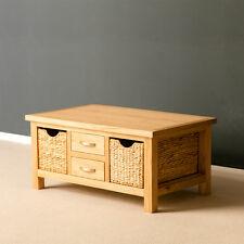 London Oak Coffee Table with Storage Baskets / Light Oak Solid Wood Lounge Table