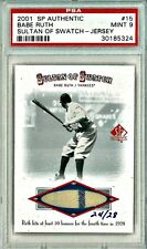 PSA 9 BABE RUTH 2001 SP AUTHENTIC SULTAN OF SWATCH PINSTRIPE JERSEY #15 RARE 1/1