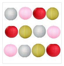 """12x8"""" MIXED New Round Paper Lanterns Lamp Shade (Pink+Silver+Yellow+Red)"""