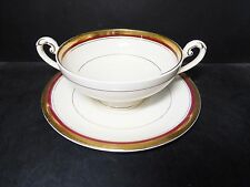 MYOTT TUDOR GOLD ENCRUSTED CREAM SOUP BOWL & SAUCER {10} -HW720 BURGUNDY RED