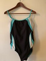 Speedo Endurance One Piece Swimsuit Black Teal White Womens Size 10 36