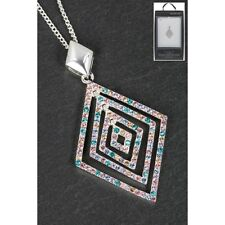 Gift Boxed Equilibrium Silver Plated Rainbow Diamond Necklace