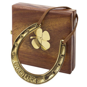 Good Luck Horseshoe Brass with Wooden Gift Box & 4 Leaf Clover on the box NEW