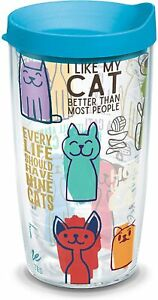 Tervis Cat Sayings Insulated Tumbler with Wrap and Turquoise Lid, Clear - NEW