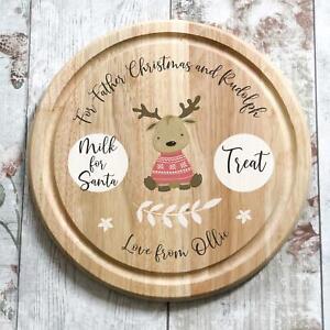 Christmas Eve Santa treat plate, cute reindeer, wooden chopping board