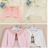 Girls Long Sleeve Bridesmaid Shrug Wedding Bolero Coat Jacket Outwear Cardigan