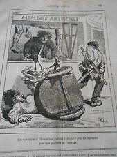 Caricature 1878 Les voituriers Membres artificiels jambe de bois béquilles