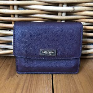Kate Spade Purse Wallet Envelope Zip Up Pouch Leather Purple Gold Small