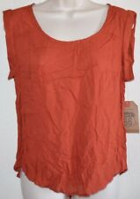 Women's Soft Cool Rayon Orange Yoke Sleeveless Top Shirt size M medium