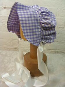 ADULT BABY SISSY BONNET PINK gingham HAT COSPLAY LOLITA FANCYDRESS Victorian
