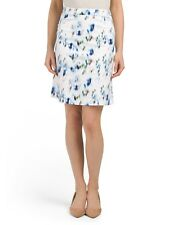 NWT REISS Size 2 Nelly Printed Day Skirt Blue/Beige w/Back Pleat Detail $180