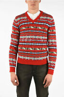 Gucci Mens Red Runway Sweater GG Fair Isle Embroidered Size 2XL $22000