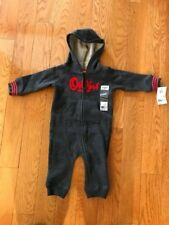 Osh Kosh Baby Boys' Hooded Fleece Coveralls Size 6 Months Gray/Red NWT FAST SHIP