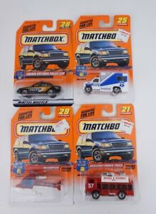 Lot of4 Matchbox To The Rescue Auxiliary#21 Ambulance#25 Police#28 Helicopter#29