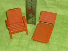 Fisher Price Little People Vintage 1970s Dollhouse Brown Patio Chair Lot