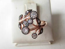 Rose 925 Sterling Silver Turkish Authentic Hurrem Sultan White Topaz Ring S 8.5