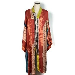 Urban Outfitters Kimchi Blue Womens Abstract Multi Color Kimono Open Front Robe
