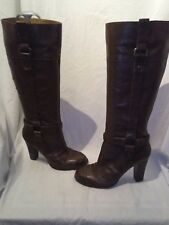 Nine west ladies brown leather riding boots 7w ref ba03