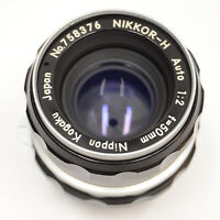 Nikon Nippon Kogaku Nikkor-H Auto 50mm f2 1:2 Normal Prime Non-AI Lens F Vtg